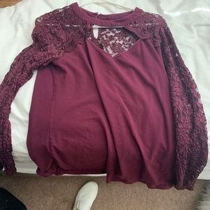 Torrid burgundy long sleeve shirt with lace.